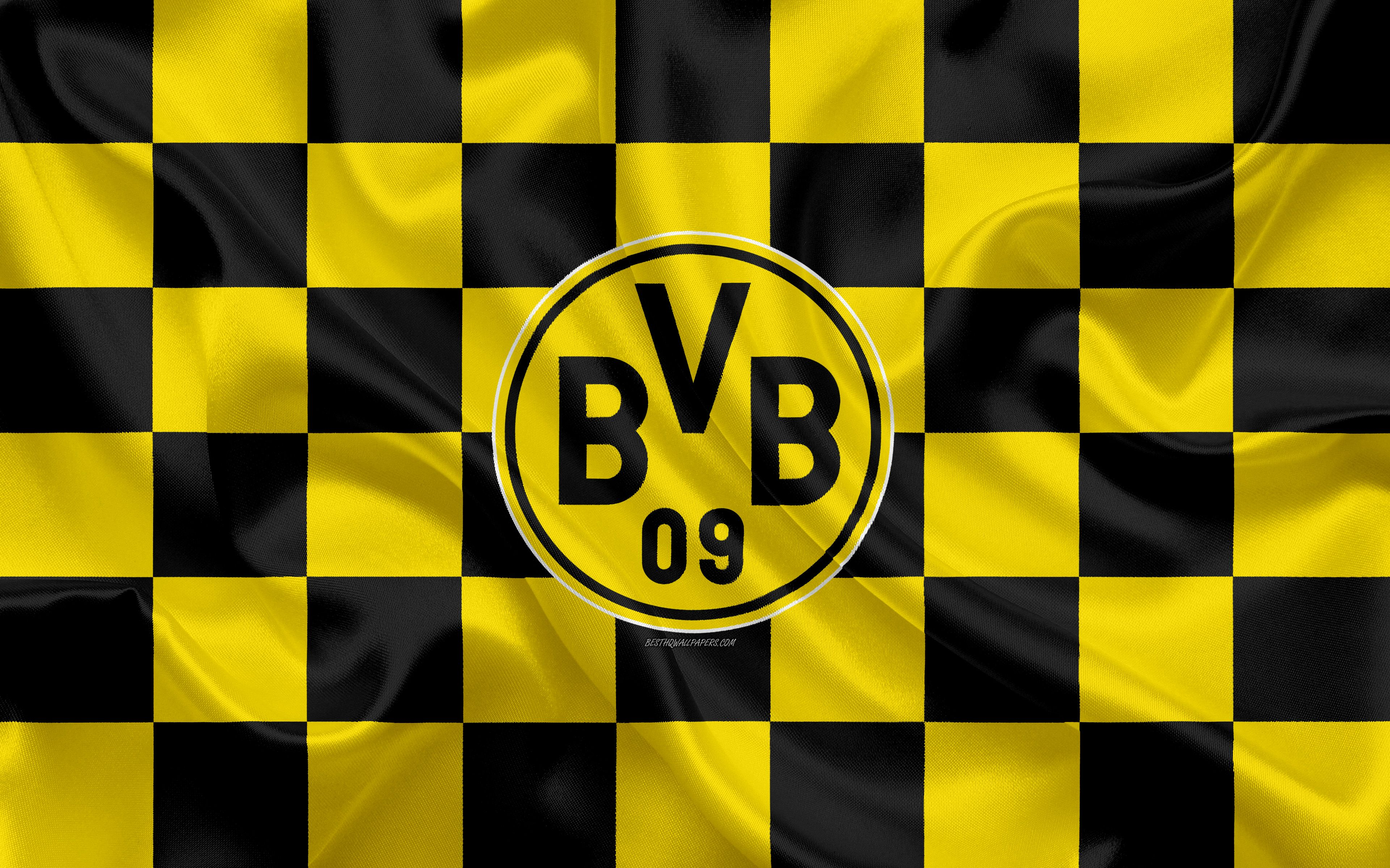 Borussia Dortmund Bvb 4k Logo Creative Art Yellow Black Checkered Flag German Football Club Bundesliga Borussia Dortmund Dortmund German Football Clubs