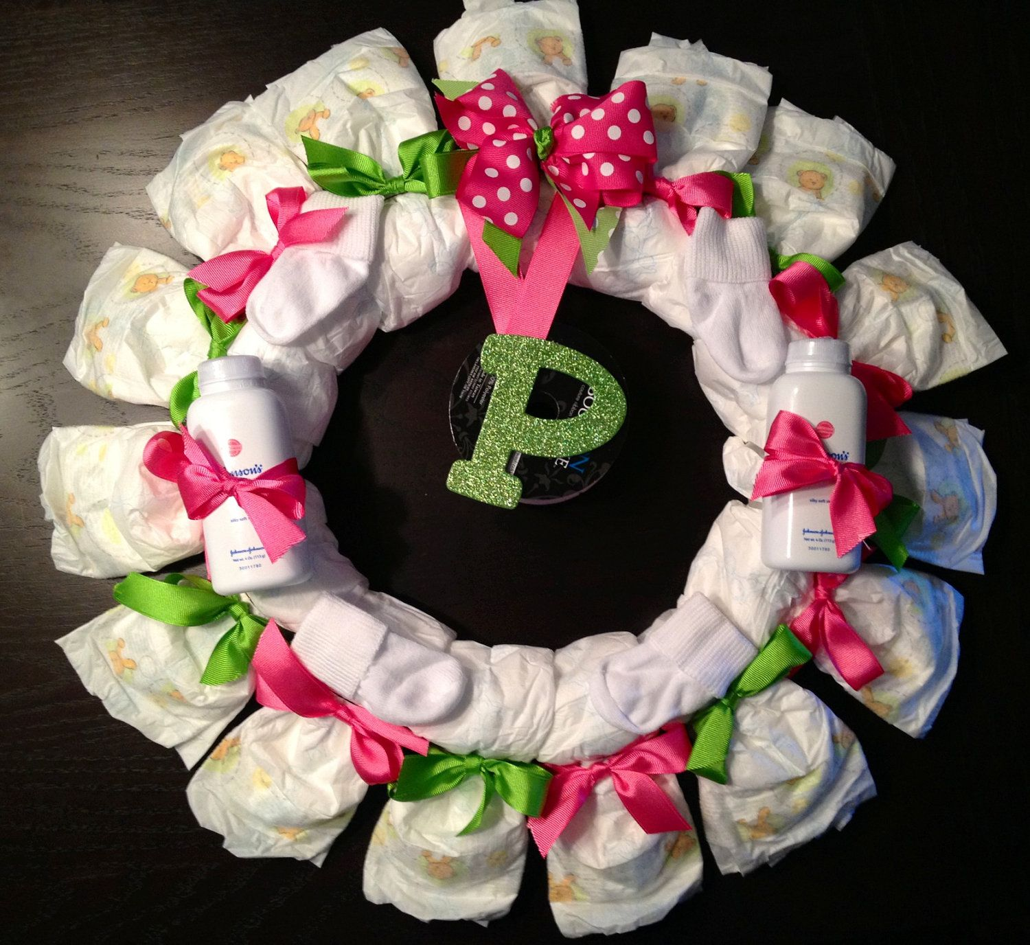 Personalized Diaper Wreath Baby Shower Gift Custom
