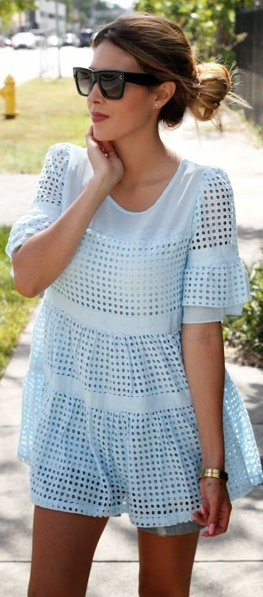 Oasap Baby Blue Lovely A-line Eyelet Cutout Babydoll  Blouse by The Chiffon Diary