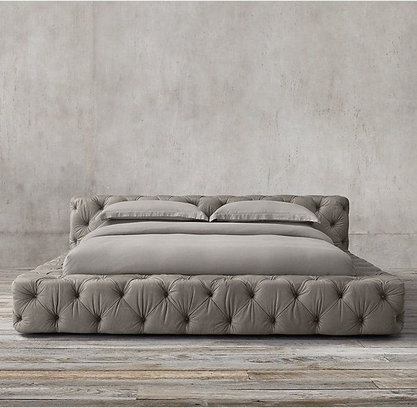 Soho Tufted Leather Platform Bed Leather platform bed