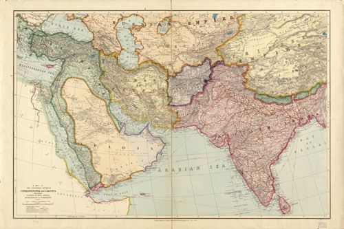 Historic Map of Middle East and Southern Asia - 1912 | History of ...