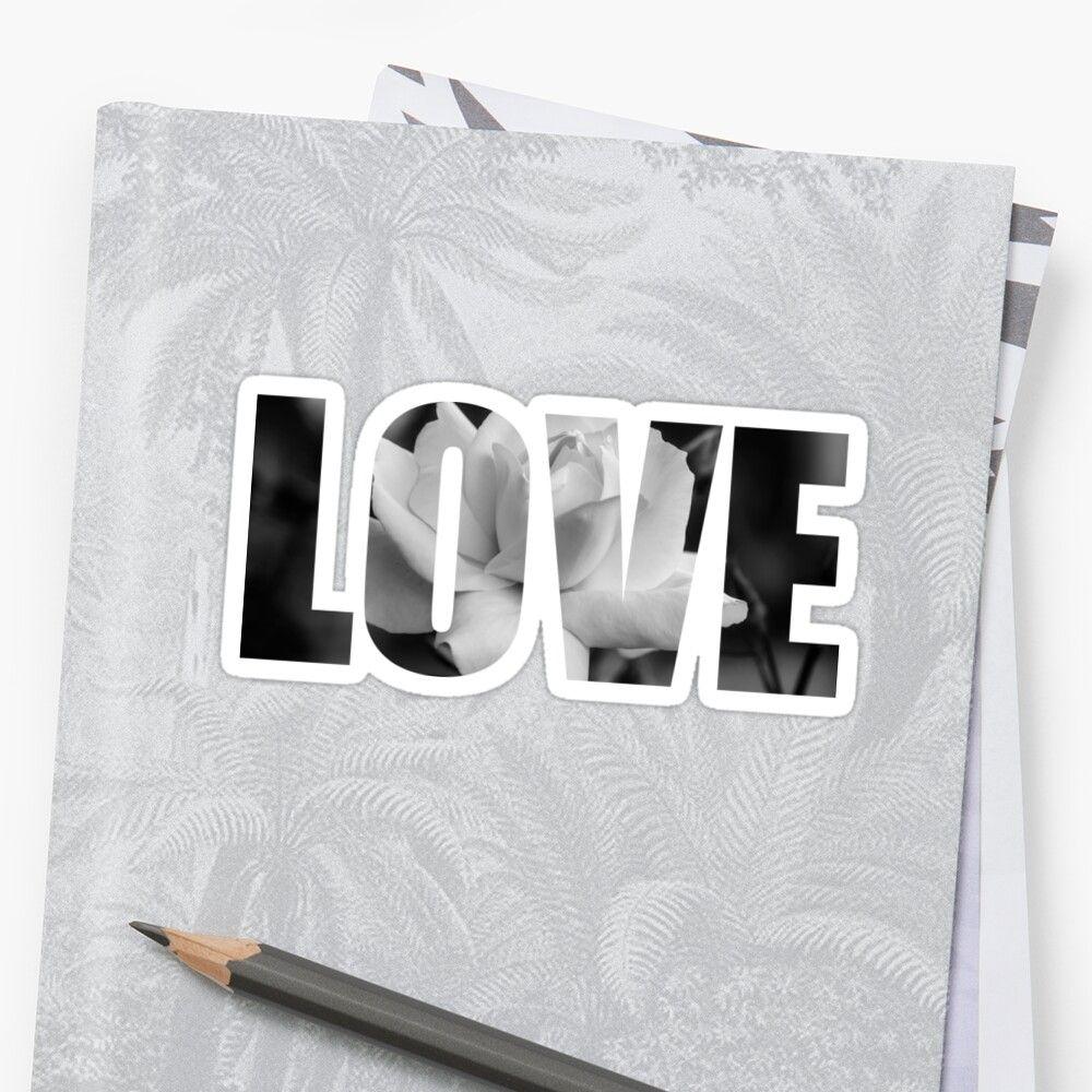 Pegatina con el texto love y la imagen de una flor