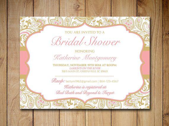 Bridal Shower Invitation Template - Gold Blush Pink  - bridal shower invitation templates download