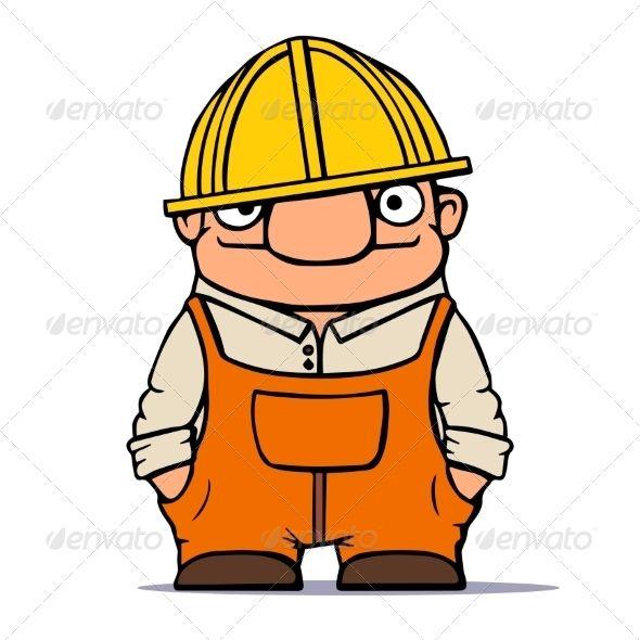 Cartoon Worker Builder Plumber Vector Ill Cartoon Helmet Drawing Hard Hats