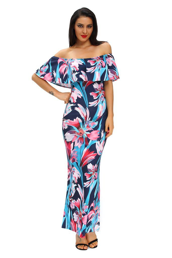 e50e594f38 Floral Print Ruffle Off-the-shoulder Maxi Dress MB61189-2 – ModeShe.com