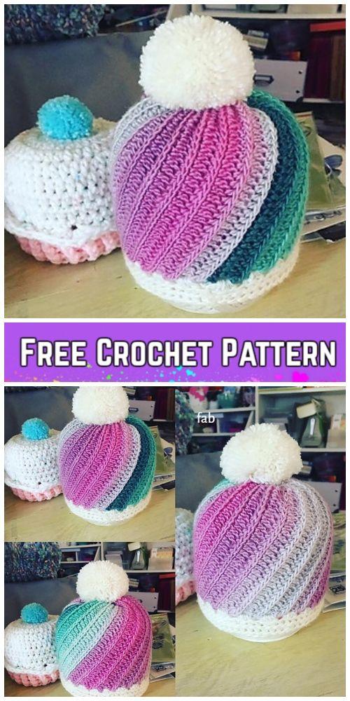 Crochet Faux Knit Pinwheel Beanie Hat Free Crochet Pattern - All ...