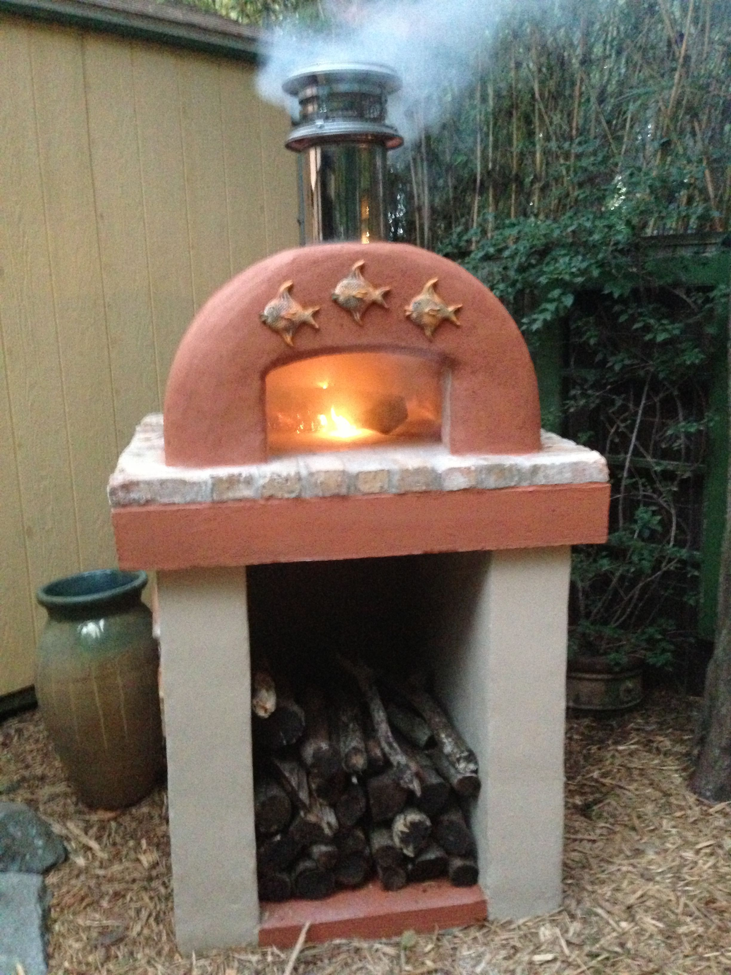 this coral color cortile barile diy wood fired brick pizza oven
