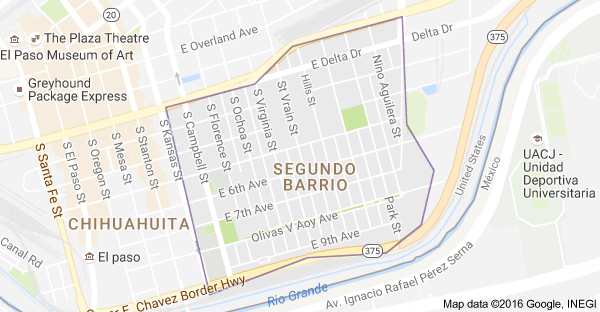 Map of Segundo Barrio El Paso TX 79901 USA US Southwest