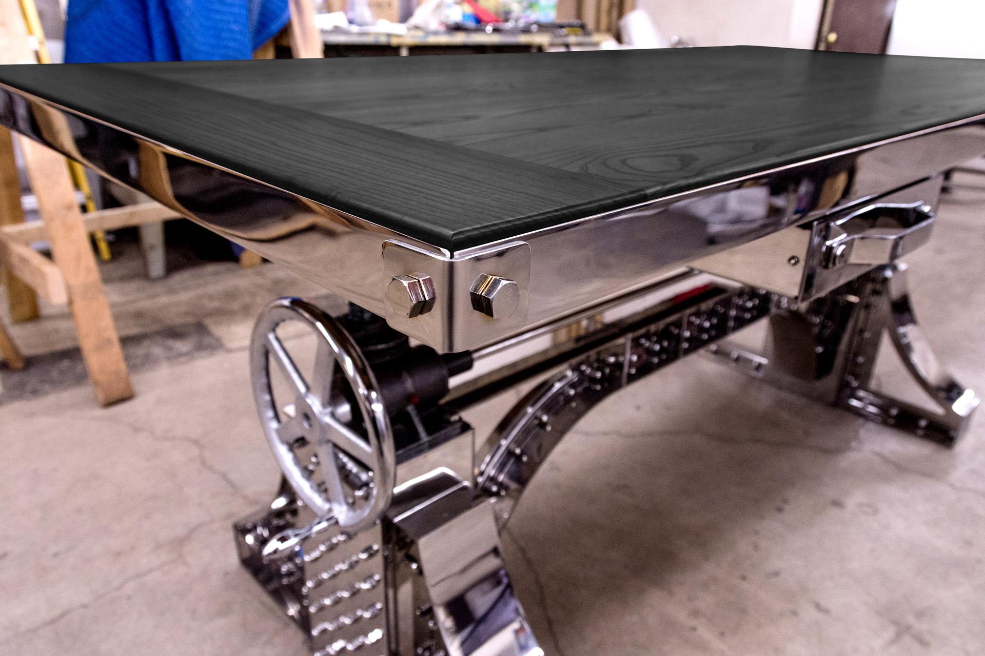 Bureau Metallique Industriel Vintage stainless bronx desk with black ash top – model #bx35