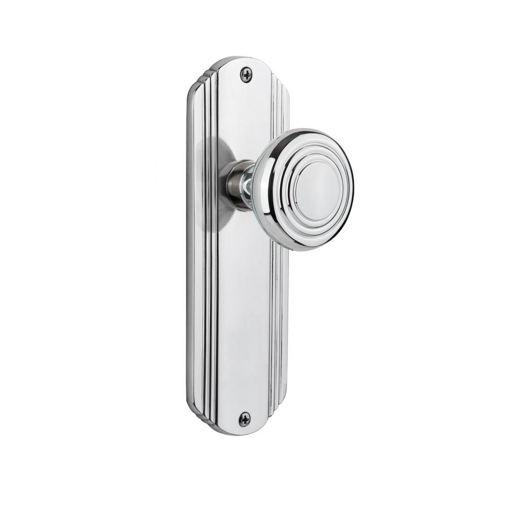 Deco plate in backset bright chrome privacy deco door knob