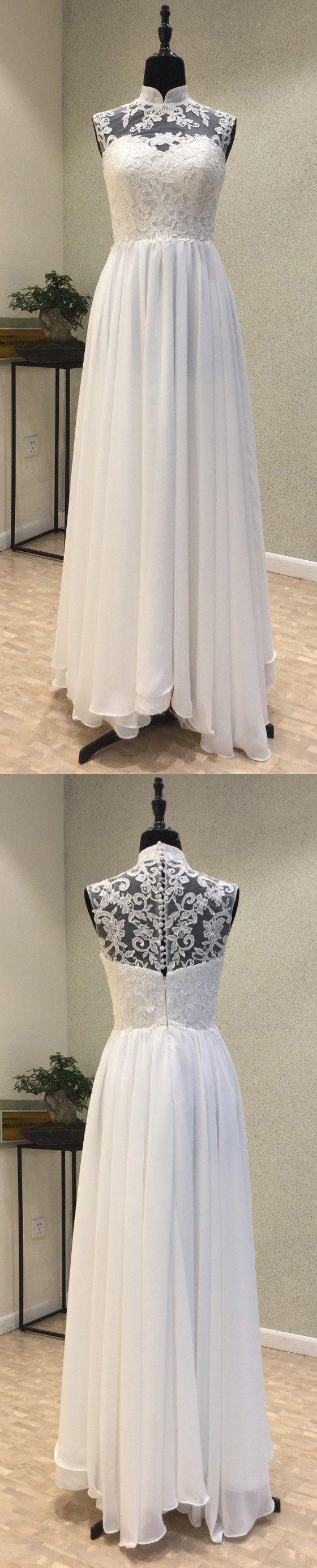 Simple high neck cheap bridal long beach wedding dresses wg