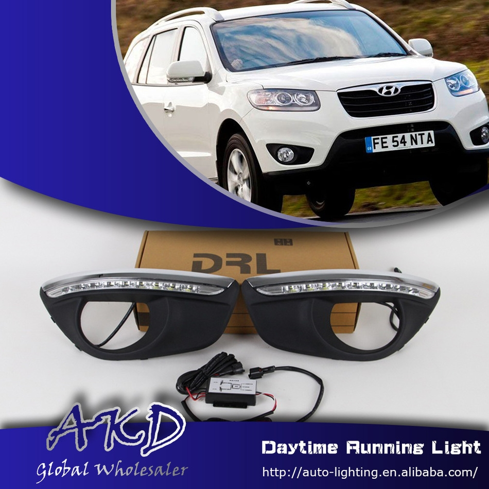 85.56$  Buy now - http://alimav.worldwells.pw/go.php?t=32695933448 - One-Stop Shopping for Hyundai SantaFe DRL 2010-2013 New Santa LED DRL Daytime Running Light Car Fog Lamp Automotive Accessories