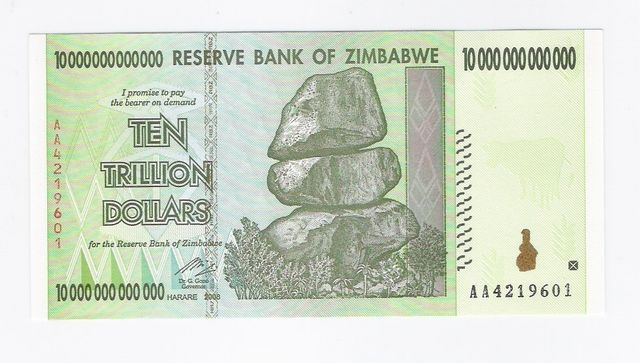 Ten Trillion Dollars Sbicca Zimbabwe