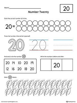 Number 20 Practice Worksheet | math | Pinterest | Worksheets ...