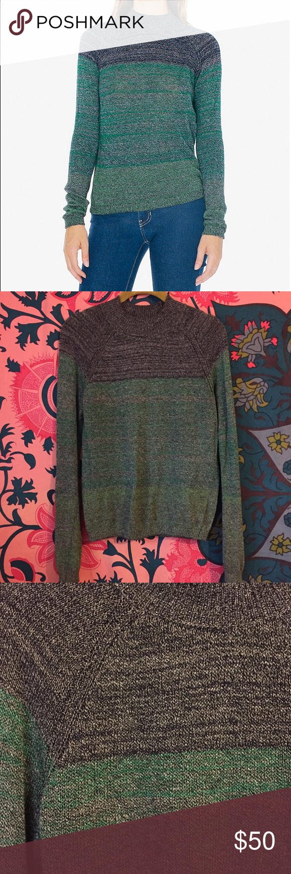 """❗️WINTER SALE ❗️American Apparel Gaia Raglan 💚♠️ Worn three times! Like new. There is a small pull on the lower right arm, as seen in the last photo. It's barely noticeable, but I want to be transparent with any interested buyers!♠️💚 Made with scrap yarn, this lightweight cotton/nylon sweater has a raglan design, ribbed trim and mock neck. In two limited edition color combinations. • 98% Cotton 2% Nylon construction • Small is approximately 20 3/4"""" (53 cm) in total length • Hand Wash…"""