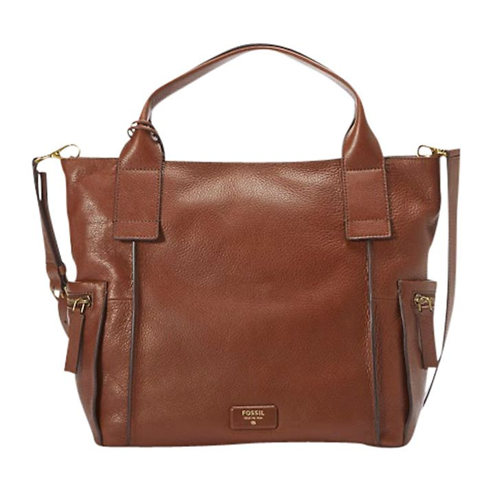 279436015e20 Buy Fossil Emerson Medium Leather Satchel, Brown Online at johnlewis.com