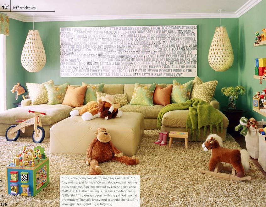 Fun playroom/family room idea. Love the hanging lights, the U ...