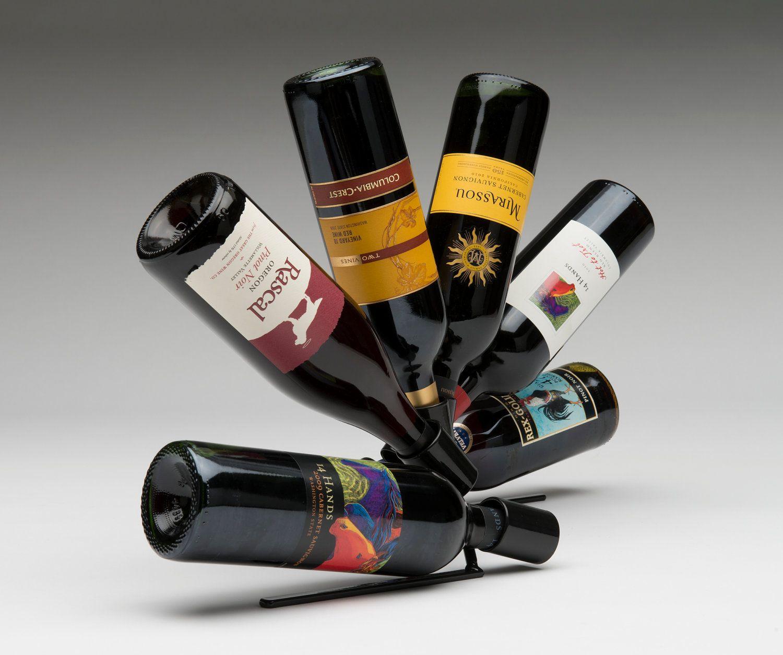 Wine Bottle Display Rack Sculptural Tabletop Wine Bottle Holder