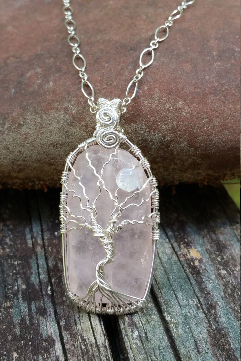 Wire Wrapped Tree of Life Pendant Sterling Silver Tree of Life Rose ...