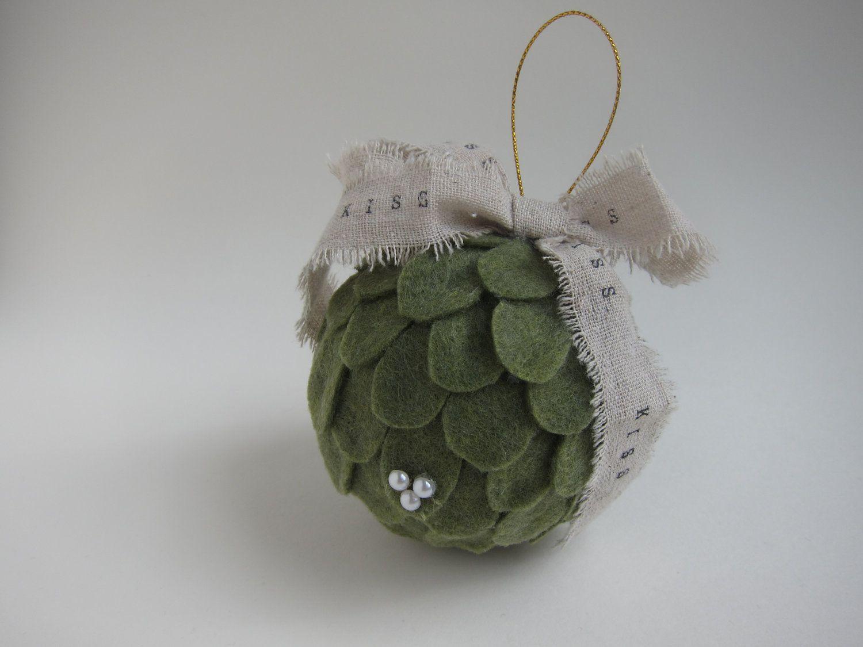 Kissing Ball Mistletoe Ornament - Felt - Christmas Tree - Green Decoration - Hostess Gift - Stocking Stuffer. $22,00, via Etsy.