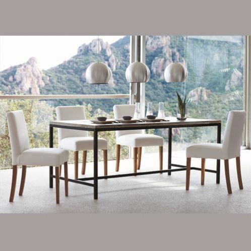 Table à manger indus en sapin et métal 8 personnes L178 | DECORATION ...