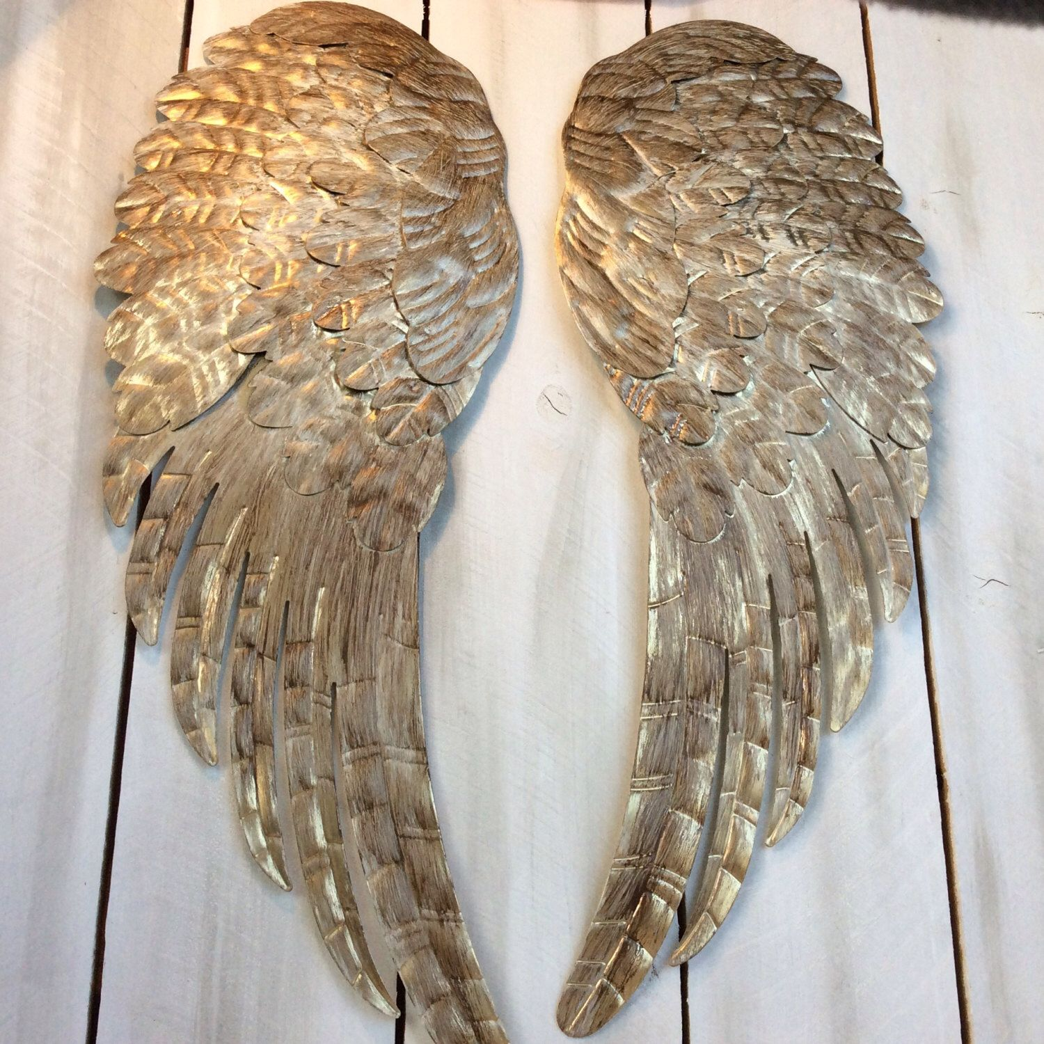 Large metal angel wings wall decor distressed gold ivory for Angel wings wall decoration uk