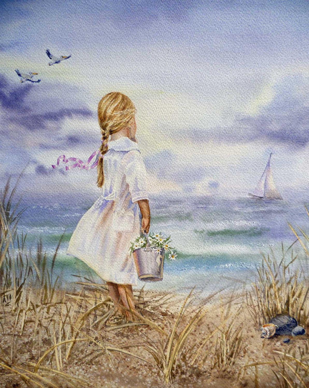 """Child Celebrating on Beach"" Original Watercolor Print Sea Turquoise Teal"