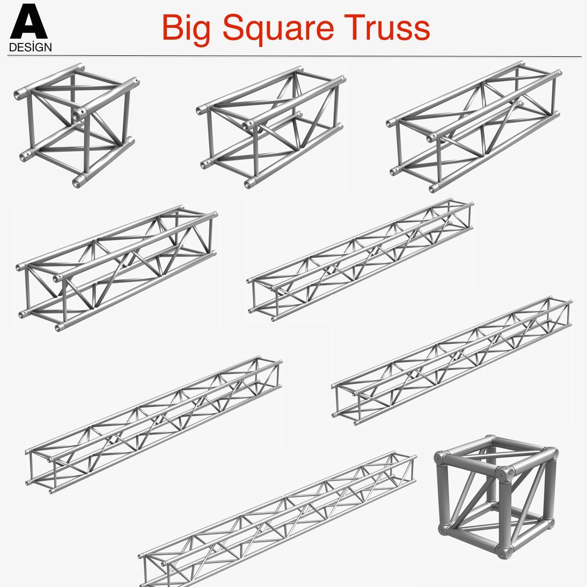 Big Square Truss Collection 10 Modular Pieces 3d Model
