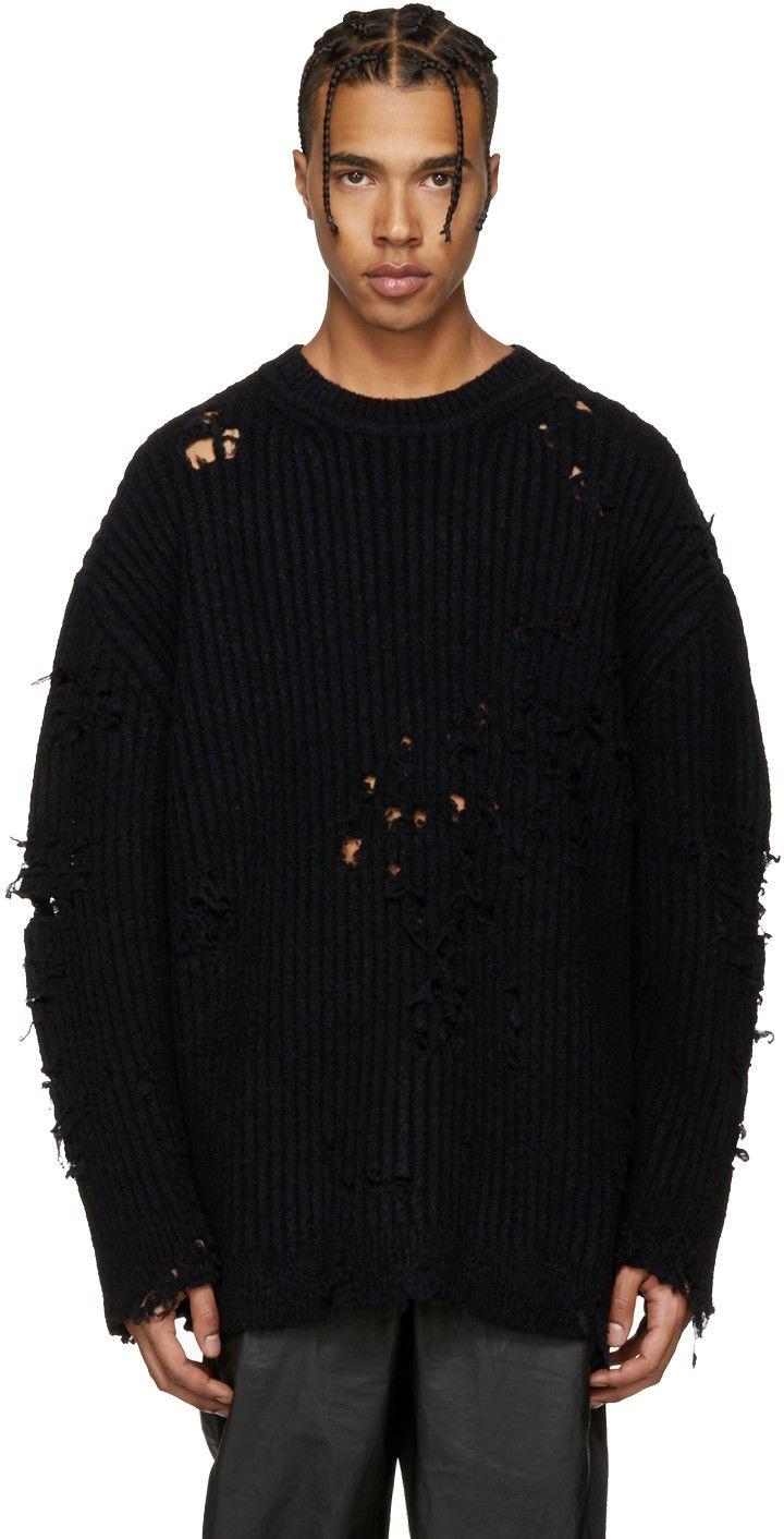 Yeezy Season 3 Black Destroyed Oversized Boucle Sweater Black Outfit Men Oversized Sweater Men Yeezy Fashion [ 1412 x 720 Pixel ]