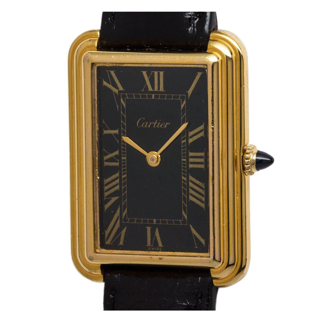 Cartier Vermeil Stepped Case Tank Wristwatch Circa 1970s 1stdibs Com Vintage Watches Wrist Watch Cartier