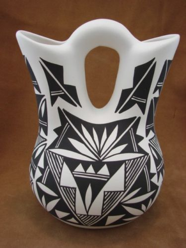 Acoma Pueblo Pottery Large Hand Painted Vase By Concho Vases My