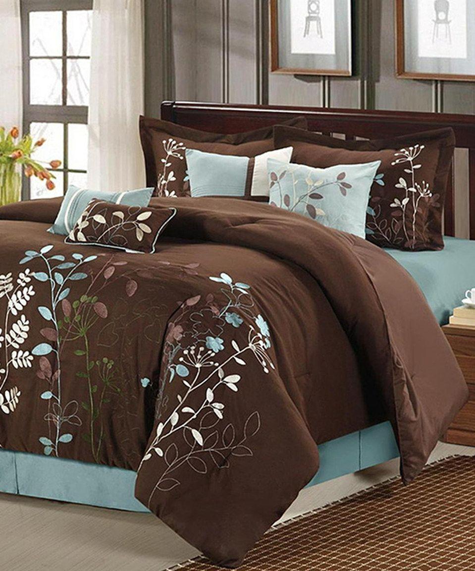 Brown Bliss Garden Embroidered Comforter Set by Chic Home Design #zulily #zulilyfinds