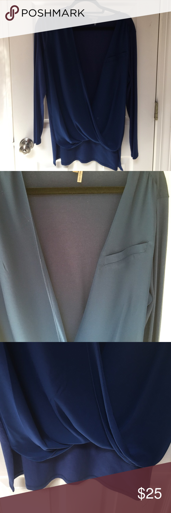 Vince Camuto Royal blue size M blouse Longer in back, shorter in front, front pocket. Front is 100% polyester, back is 96% rayon, 4% spandex Vince Camuto Tops Blouses