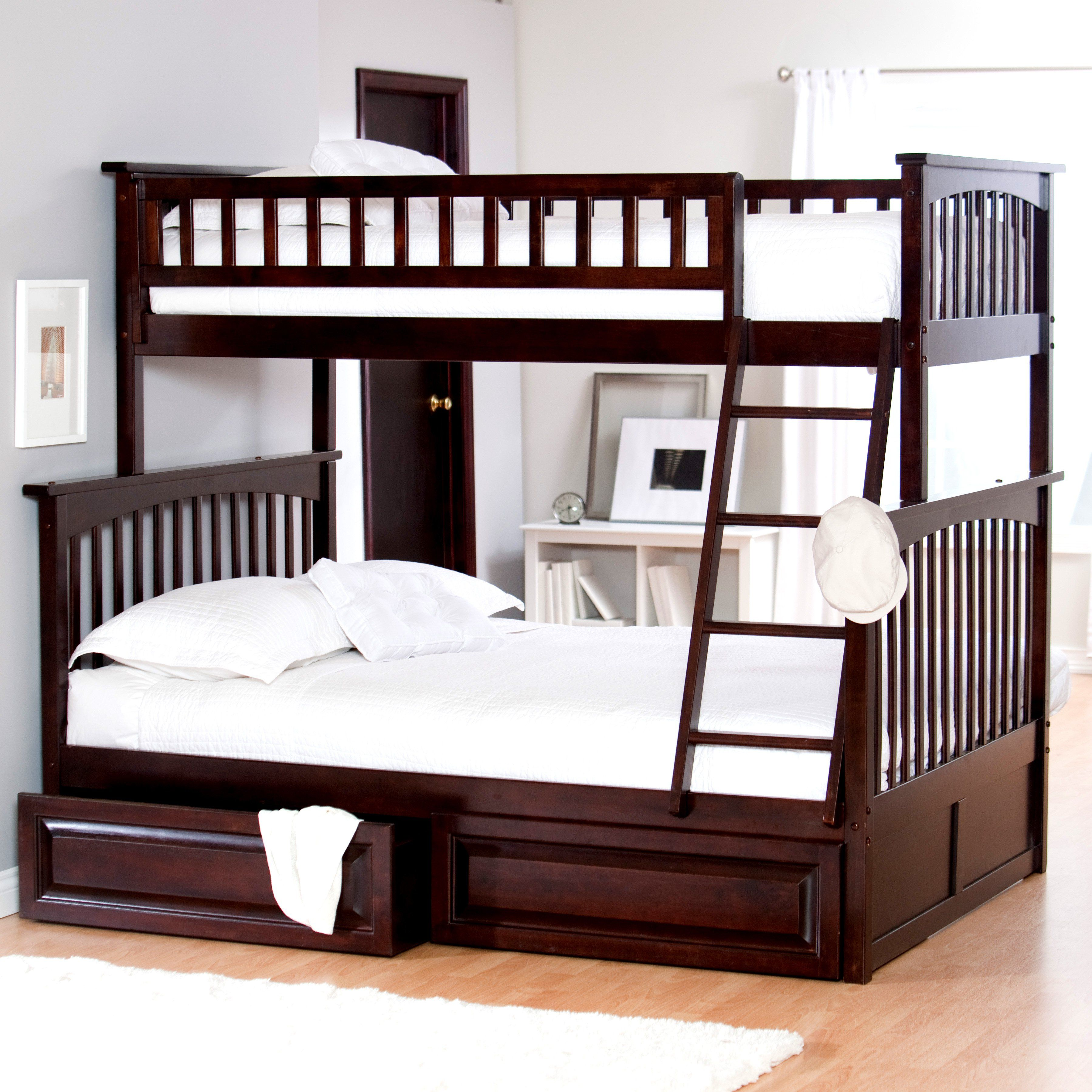 Queen loft bed with stairs  Atlantic Furniture Columbia Twin over Full Bunk Bed  The Columbia