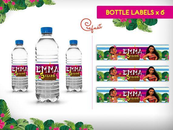 Cumpleanos Moana Kit Imprimible Etiquetas Para Vasos Moana Bottle Bottle Labels Volvic Bottle