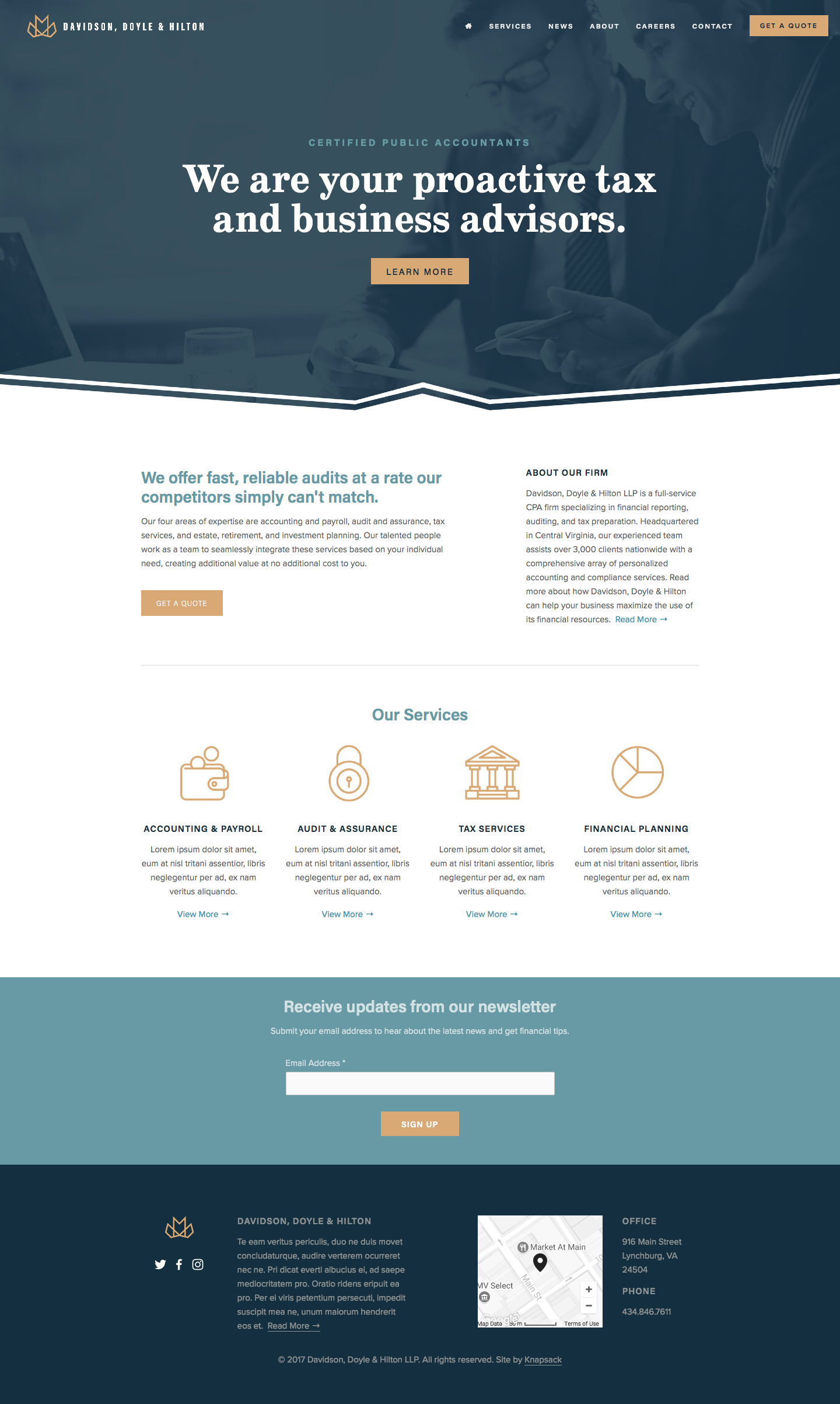 A website home page design for a tax and business advising company ...
