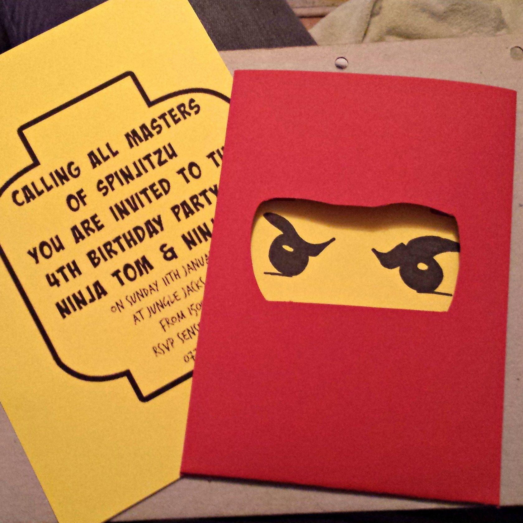 Ninjago Einladung Basteln: Lego Ninjago Birthday Invitations