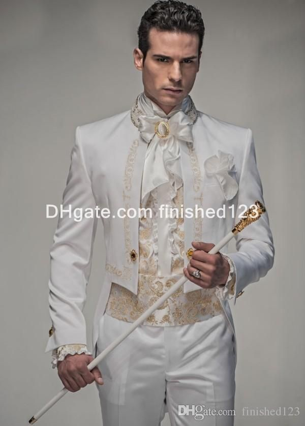 bf1cb9926f0534 Tuxes 2015 New Style White With Gold Embroidery Groom Tuxedos Men'S Suit  Groomsmen Mens Wedding Suits