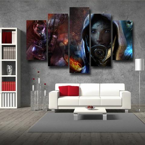 Mass Effect Tali Zorah Mask Portrait Theme 5pc Wall Art Poster ...