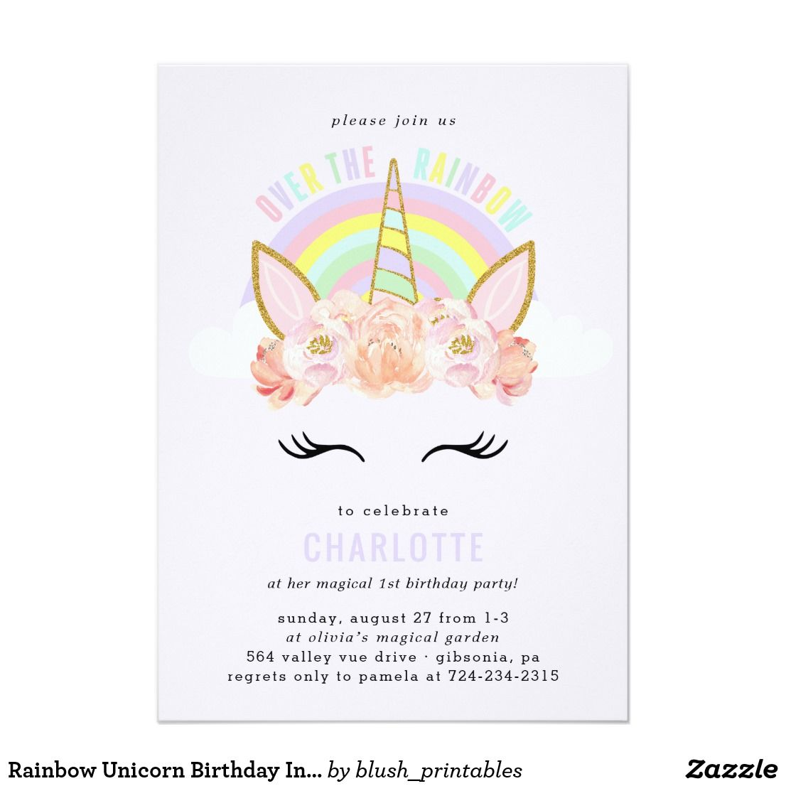 Rainbow unicorn birthday invitation pink gold stopboris Images