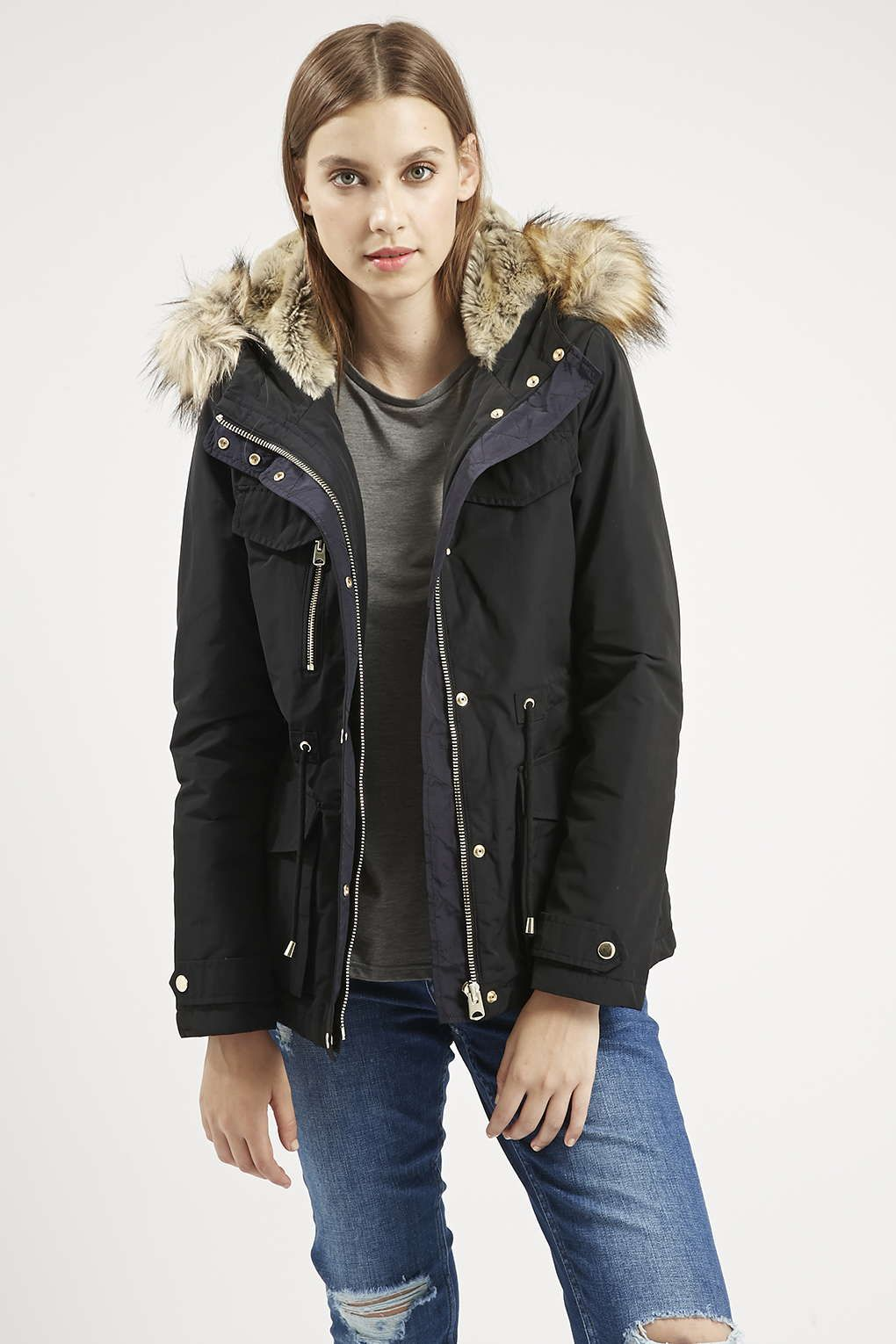 PETITE Jaxson Faux Fur Short Parka - Jackets & Coats - Clothing ...