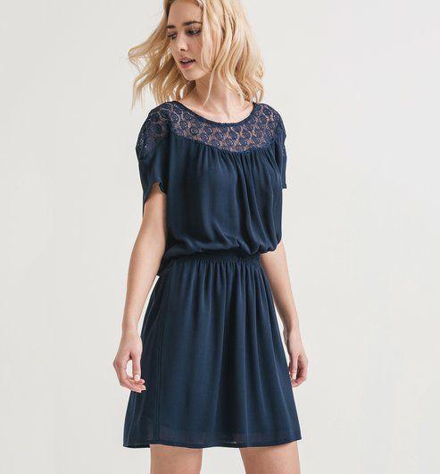4b8d777a8de6c3 Lace detail dress navy blue - Promod   MODE ETE   Promod robe, Femme ...