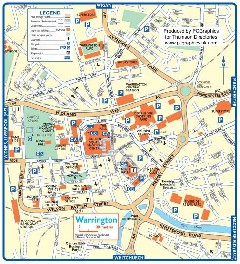 Map of Warrington created in 2011 for Thomson Directories. One of ...