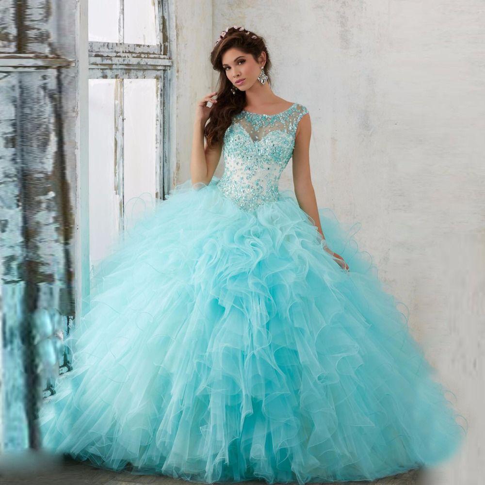 e2210f38d Encontrar Más Vestidos de quinceañera Información acerca de 2017 nueva  coral aqua vestido de espalda abierta de las colmenas de quinceañera bola  vestido con ...