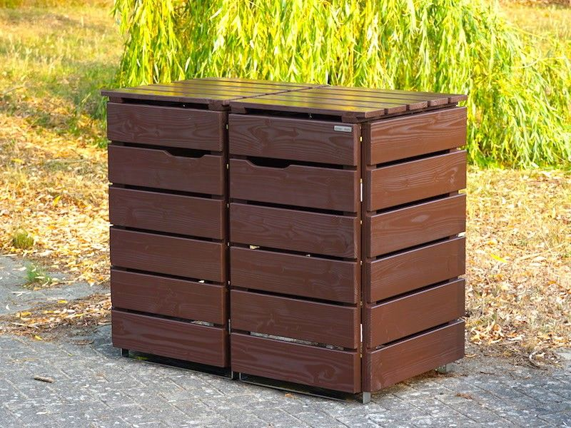 2er Mulltonnenbox Mulltonnenverkleidung Mit Holz Oder Edelstahl Deckel Erhaltlich Fur 60 L 8 Mulltonnenbox Holz Mulltonnenbox Mulltonnenverkleidung Holz