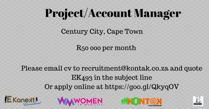 projectmanager capetown recruitment kontakrecruitment