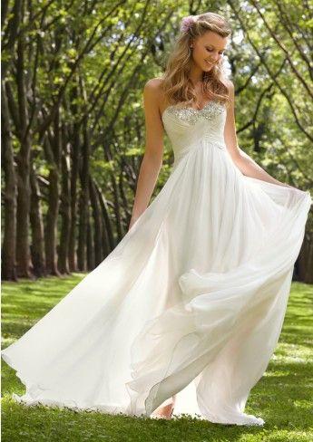 A-line Strapless Sweetheart White Chiffon Beadings Zipper Buttons Back  Beach Wedding Dresses eed1d3b11