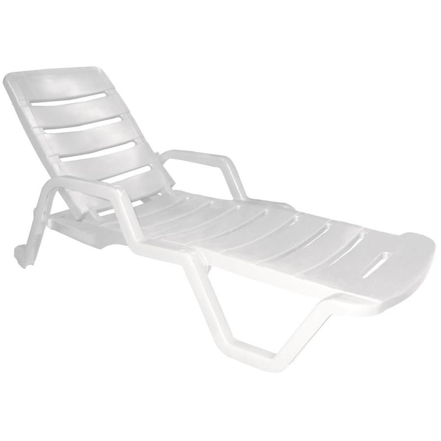 Adams Mfg Corp 1Count White Resin Stackable Patio Chaise