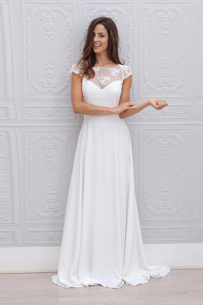 Aline cap sleeves open back lace chiffon bridal wedding dresses