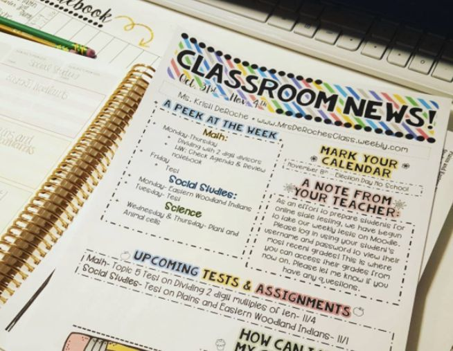 Classroom Newsletter- EDITABLE- Bright Stripes Parents, Students - editable classroom newsletter